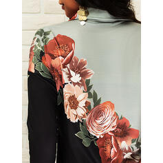 Print Floral Lapel Long Sleeves Casual Blouses