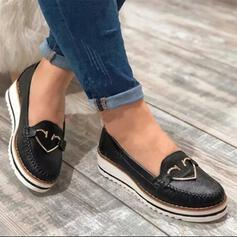 Women's PU Flat Heel Flats Low Top With Buckle shoes