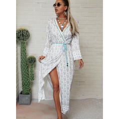 Print Long Sleeves A-line Wrap/Skater Casual/Boho/Vacation Maxi Dresses