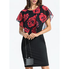 Floral Short Sleeves Bodycon Knee Length Casual/Party/Elegant Dresses