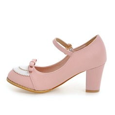 Women's Leatherette Chunky Heel Pumps Closed Toe Mary Jane With Bowknot shoes