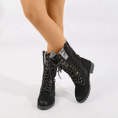 Women's Cloth Flat Heel Mid-Calf Boots Martin Boots Round Toe With Zipper Lace-up Splice Color shoes