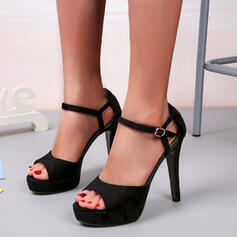 Women's Leatherette Stiletto Heel Pumps Peep Toe Heels With Buckle Solid Color shoes