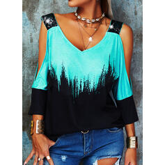 Color Block Sequins Cold Shoulder 1/2 Sleeves Casual Blouses