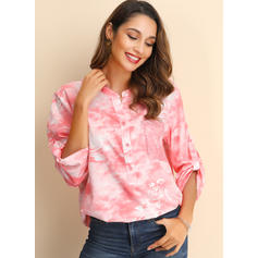 Print V-Neck Long Sleeves Button Up Casual Blouses
