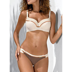 Solid Color Low Waist Strap V-Neck Sexy Fresh Attractive Bikinis Swimsuits