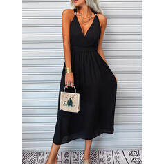 Solid Sleeveless A-line Skater Little Black/Vacation Maxi Dresses