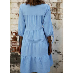 Solid 3/4 Sleeves Shift Above Knee Casual Tunic Dresses