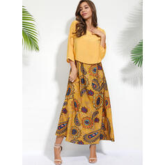 Print/Floral 3/4 Sleeves Shift Casual Maxi Dresses
