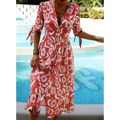Print 1/2 Sleeves A-line Casual/Vacation Midi Dresses