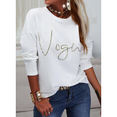 Print Letter Round Neck Long Sleeves Casual T-shirts