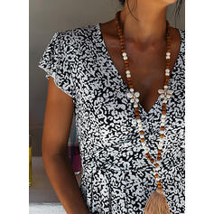 Print/Floral Short Sleeves A-line Knee Length Casual/Vacation Dresses