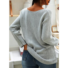 Solid Chunky knit Round Neck Casual Sweaters
