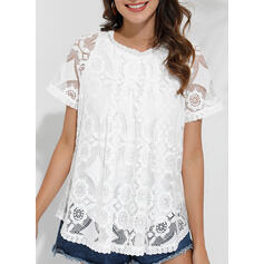 Solid Lace Round Neck Short Sleeves Button Up Casual Elegant Blouses