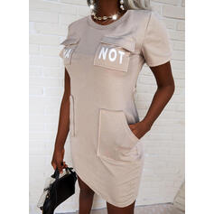 Print/Letter Short Sleeves Bodycon Above Knee Casual Dresses