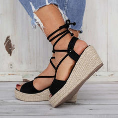 Women's PU Wedge Heel Sandals With Lace-up shoes