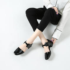 Women's Patent Leather Low Heel Sandals Closed Toe With Buckle shoes