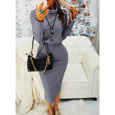 Solid Long Sleeves Bodycon Pencil Little Black/Casual Midi Dresses