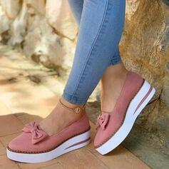 Women's PU Low Heel Flats Closed Toe With Bowknot shoes