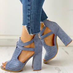 Women's Suede Chunky Heel Sandals Peep Toe With Buckle Hollow-out shoes