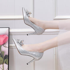 Women's Leatherette Stiletto Heel Pumps Closed Toe With Rhinestone Crystal shoes
