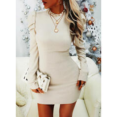 Solid Long Sleeves/Puff Sleeves Bodycon Above Knee Little Black/Casual Dresses