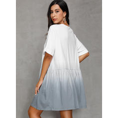 Color Block Short Sleeves A-line Knee Length Casual/Vacation Dresses