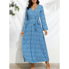 Print Long Sleeves/Flare Sleeves A-line Casual/Vacation Maxi Dresses
