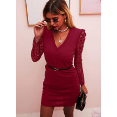 Lace/Solid Long Sleeves/Puff Sleeves Bodycon Above Knee Little Black/Party/Elegant Dresses