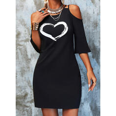 Print/Heart 3/4 Sleeves Shift Above Knee Casual Tunic Dresses