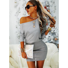 Solid Long Sleeves Bodycon Above Knee Party/Elegant Dresses