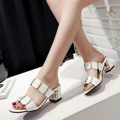 Women's PU Stiletto Heel Sandals Pumps Slippers With Hollow-out shoes