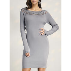Solid Ribbed Round Neck Casual Long Tight Sexy Sweaters