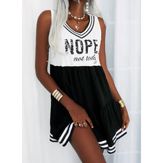 Print/Color Block/Striped/Letter Sleeveless Shift Above Knee Casual Tank Dresses