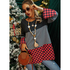 Color Block Plaid Round Neck Long Sleeves Casual Blouses