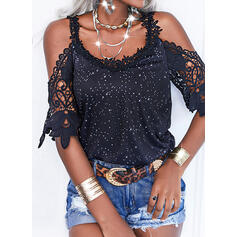 Print Lace Cold Shoulder 1/2 Sleeves Cold Shoulder Sleeve Casual Blouses