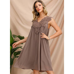 Lace Cap Sleeve A-line Above Knee Casual Dresses
