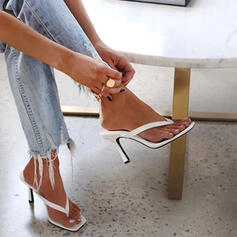 Women's PU Stiletto Heel Sandals Pumps Peep Toe Flip-Flops Slippers Toe Ring Heels With Hollow-out Solid Color shoes