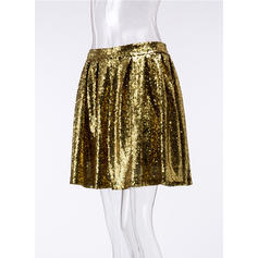 Cotton Sequins Mini A-Line Skirts