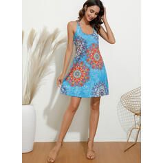 Print/Floral Sleeveless Sheath Above Knee Sexy/Casual/Vacation Dresses