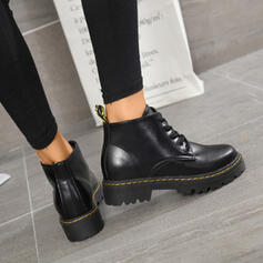 Women's PU Low Heel Closed Toe Boots Ankle Boots Martin Boots Round Toe With Lace-up shoes