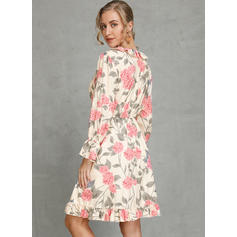 Print/Floral Long Sleeves A-line Above Knee Casual/Vacation Skater Dresses