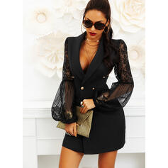Lace/Solid Long Sleeves/Flare Sleeves Sheath Above Knee Little Black/Casual Dresses
