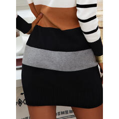 Color Block Striped Stand Collar Casual Long Sweater Dress