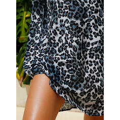 Leopard Long Sleeves Shift Above Knee Casual/Vacation Dresses