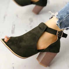 Women's Suede Chunky Heel Ankle Boots With Buckle shoes