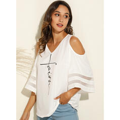 Print Cold Shoulder Flare Sleeve 3/4 Sleeves Casual Blouses
