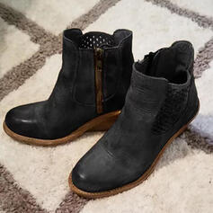 Women's PU Chunky Heel Martin Boots Round Toe With Zipper Hollow-out shoes
