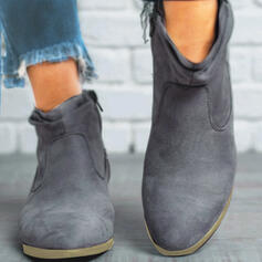 Women's Suede Chunky Heel Ankle Boots Pointed Toe With Zipper Others Solid Color shoes