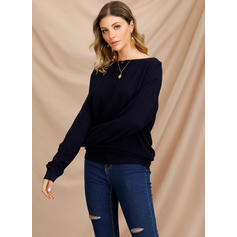 Solid Boat Neck Sweaters
